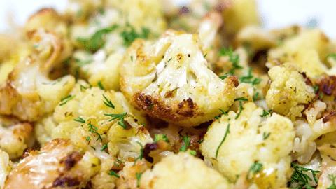Цветная капуста запеченная с сыром и чесноком