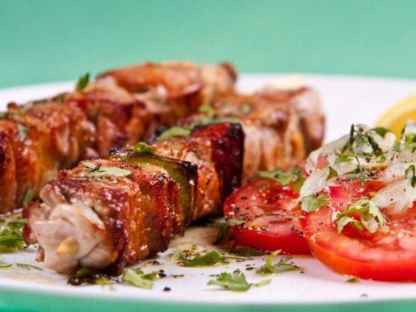 Шашлык из говядины и овощей Блюда из мяса