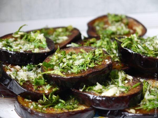 Баклажаны с чесноком и зеленью Заготовки, консервирование