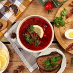 Борщ гетманский с фасолью и баклажанами Украинская кухня