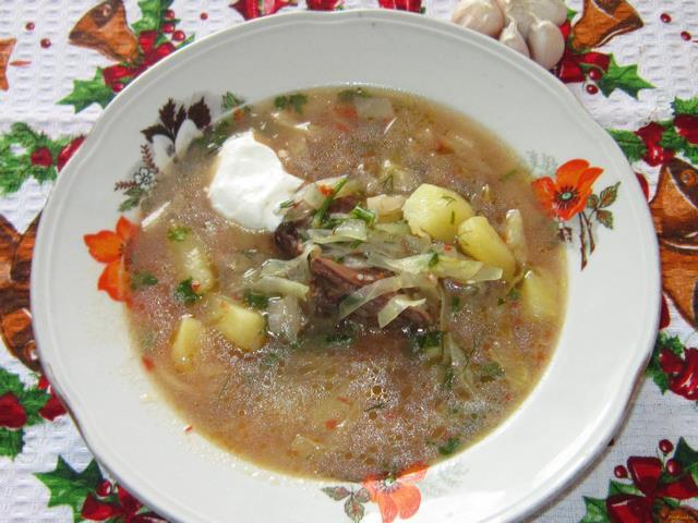 Борщ с квашеной свеклой Украинская кухня