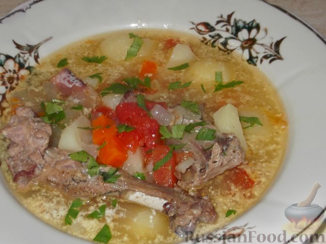 Домашний суп из утки