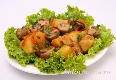 Грибы, запеченные с картофелем Из картошки Из овощей