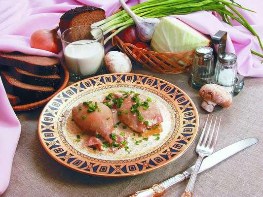 Кальмары, фаршированные шампиньонами и капустой Блюда из рыбы Вторые блюда