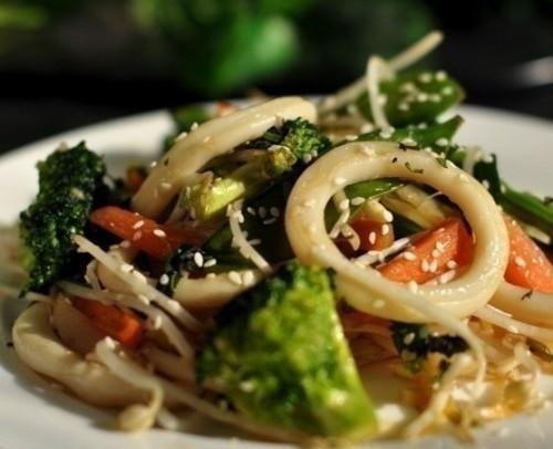 Кальмары с овощами Блюда из рыбы Вторые блюда