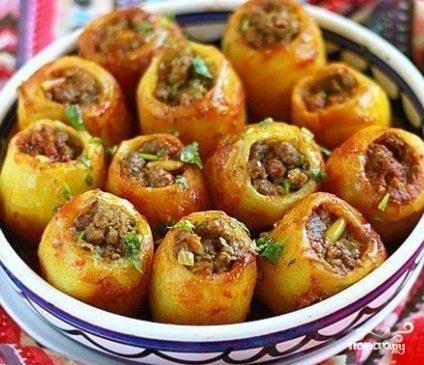 Картофель, фаршированный мясом Из картошки
