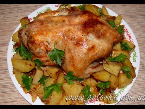 Картофель с жареной курицей Вторые блюда