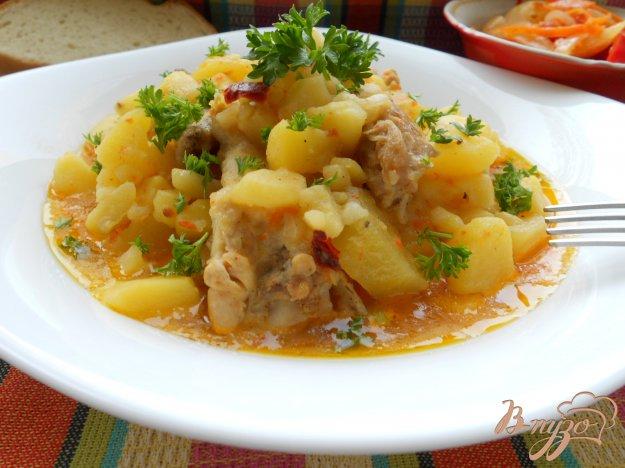 Картофель, тушенный с курицей Из картошки