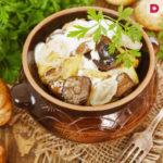 Картофель, тушенный в горшочке с грибами Из картошки