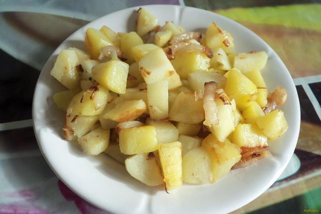 Картофель жареный со шкварками Украинская кухня