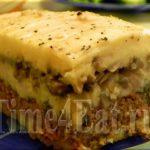 Картофельная запеканка с грибами и телятиной Из картошки