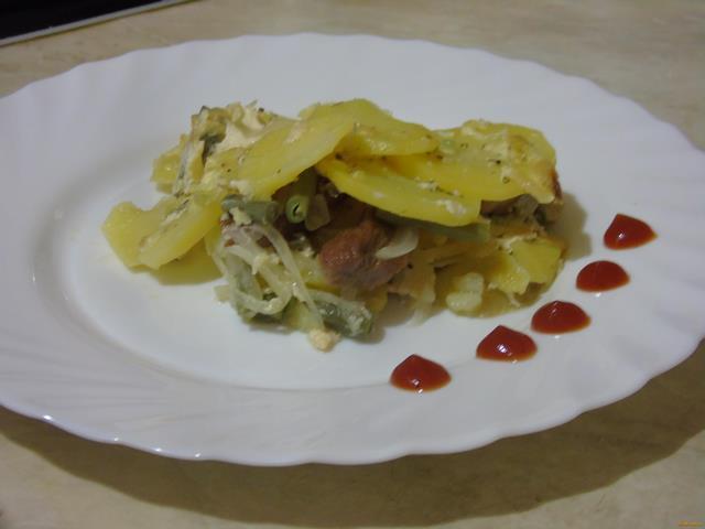 Картофельная запеканка со спаржей Из картошки