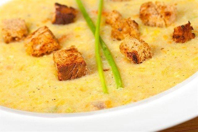 Картофельный суп-пюре с гренками Из картошки