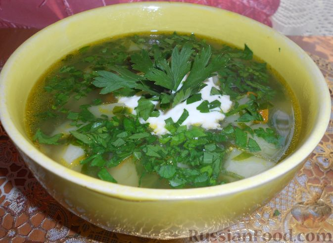 Картофельный суп со щавелем