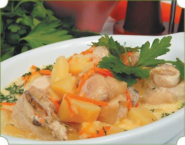 Кокмач (отбивное мясо с гарниром) Туркменская кухня