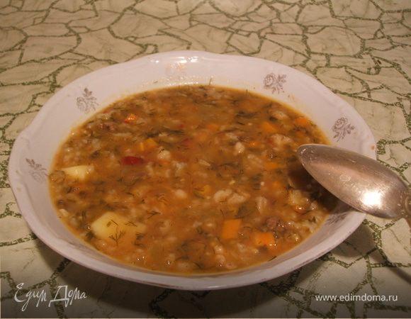 Машхурда (мясной суп с рисом, овощами и машем)