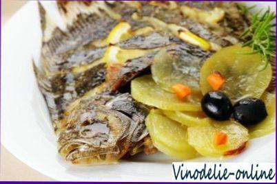 Морской язык в красном вине Блюда из рыбы Вторые блюда