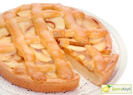 Низкокалорийный пирог с яблоками и творогом Выпечка