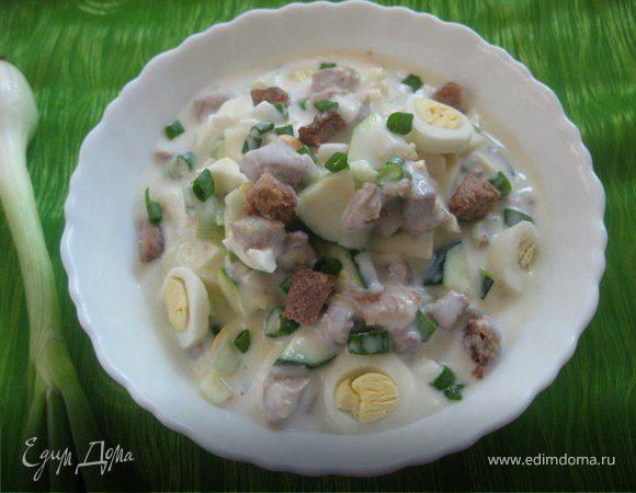 Окрошка с мясом, яйцом и овощами Русская кухня