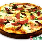 Пицца из зелени с сыром двух сортов Пицца