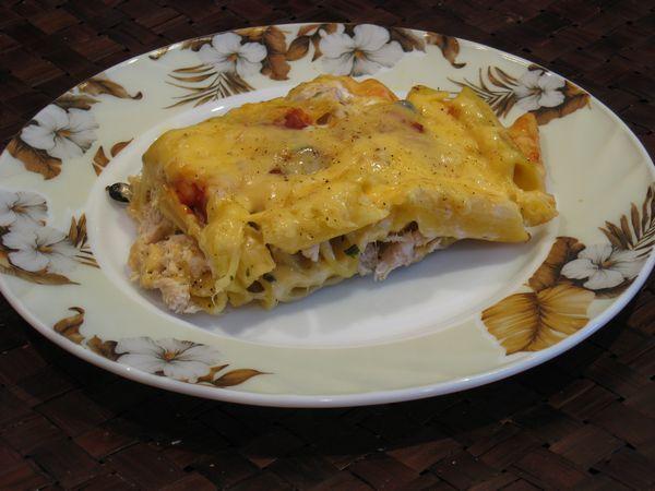 Пирог из баклажанов и макарон