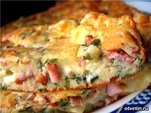 Пирог с ветчиной Французская кухня