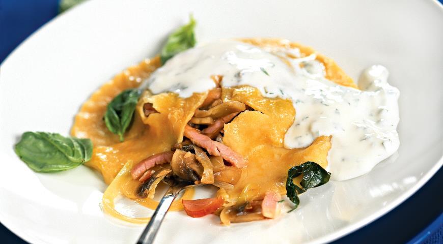 Равиоли с ветчиной и грибами Блюда из мяса Вторые блюда