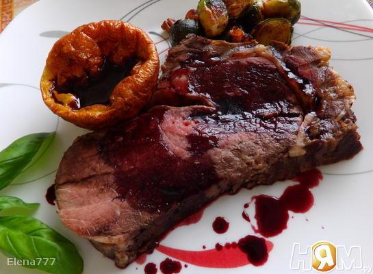 Ростбиф с йоркширским пудингом и соусом из хрена Блюда из мяса Вторые блюда