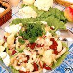 Салат из грибов, фасоли и цветной капусты Русская кухня