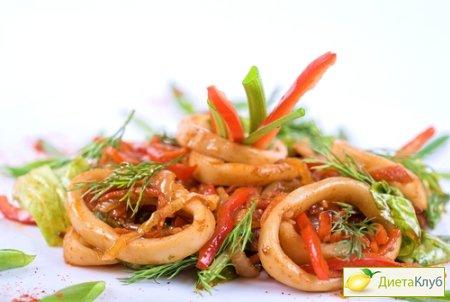 Салат из кальмаров с дайконом Японская кухня