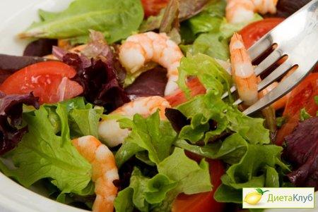 Салат из креветок с морской капустой Японская кухня