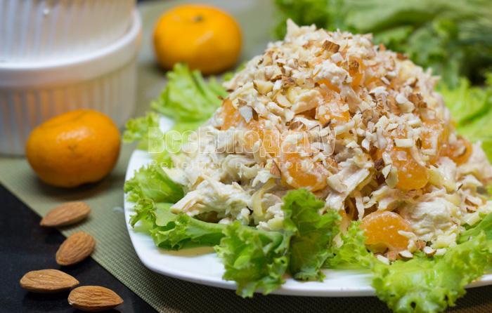 Салат из курицы с рисом и мандаринами Японская кухня