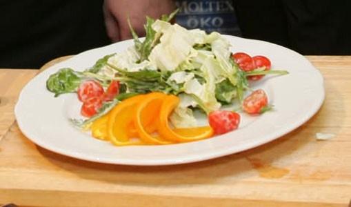 Салат из морского гребешка с апельсином Японская кухня