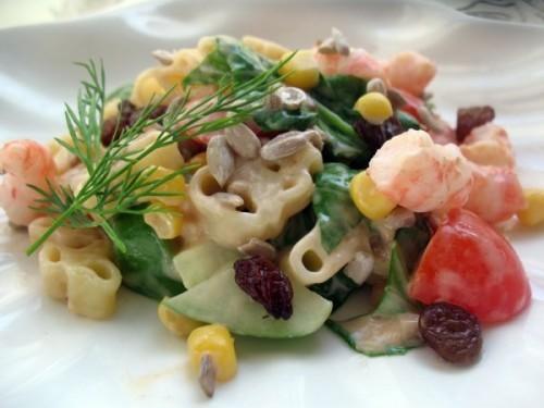 Салат из морского языка и королевских креветок