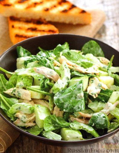 Салат из мяса цыпленка с сельдереем и хреном васаби Японская кухня