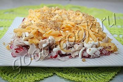 Салат из мяса и редьки с орехами Салаты