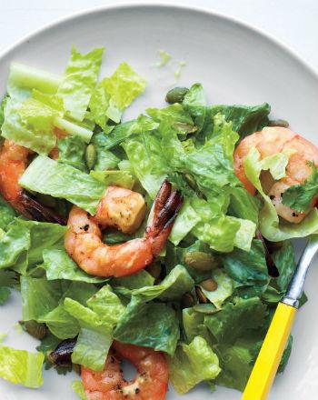 Салат из осетрины с креветками Салаты