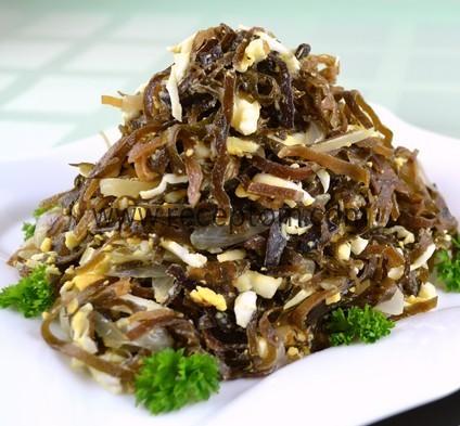 Салат из палтуса и морской капусты Японская кухня
