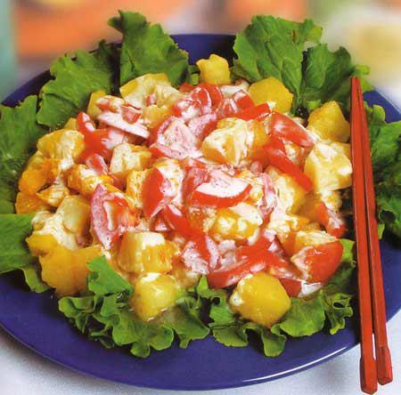 Салат из помидоров с апельсинами и ананасами Японская кухня
