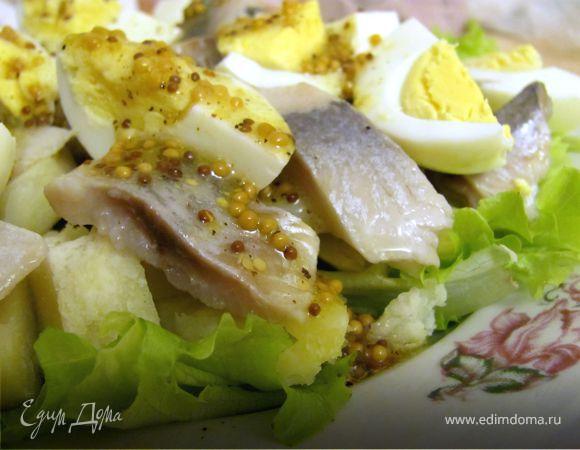 Салат из сельди с горчичной заправкой Салаты