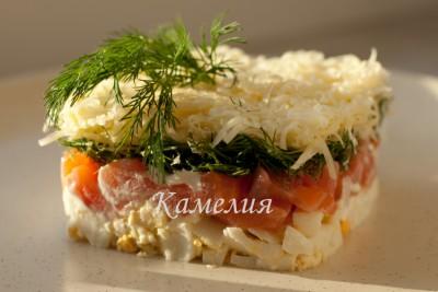 Салат из семги с укропом