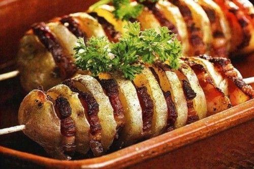 Шашлык из картофеля Вторые блюда Шашлыки