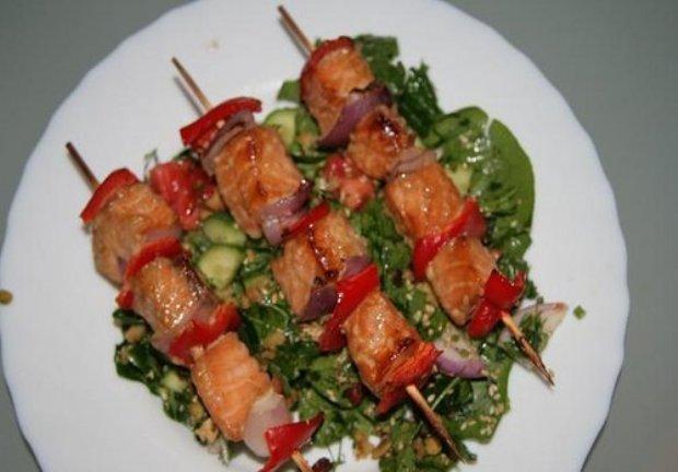Шашлык из налима с баклажанами Вторые блюда Шашлыки