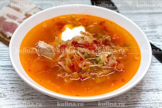 Щи с томатами Супы