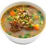 Шурпа-маш (мясной суп с овощами, рисом и машем) Супы Туркменская кухня