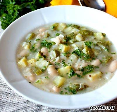 Суп из кабачков с фасолью Супы
