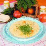 Суп с плавленым сыром и осетриной Супы