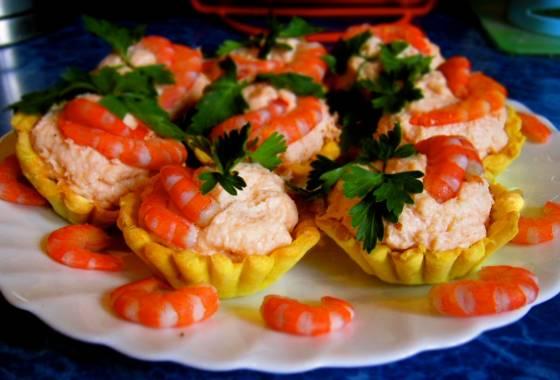 Тарталетки с креветками и тофу Японская кухня