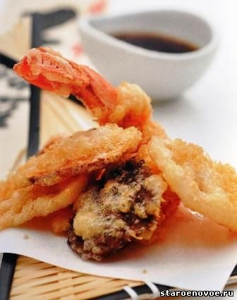Темпура из морепродуктов с нори Японская кухня