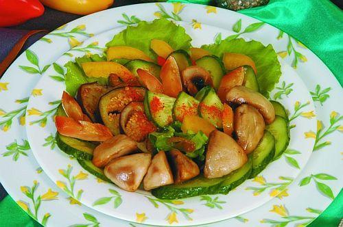 Теплый салат из баклажанов и шампиньонов Японская кухня